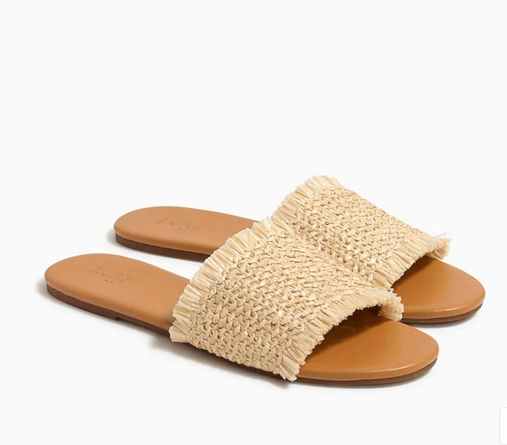 raffia slide sandal