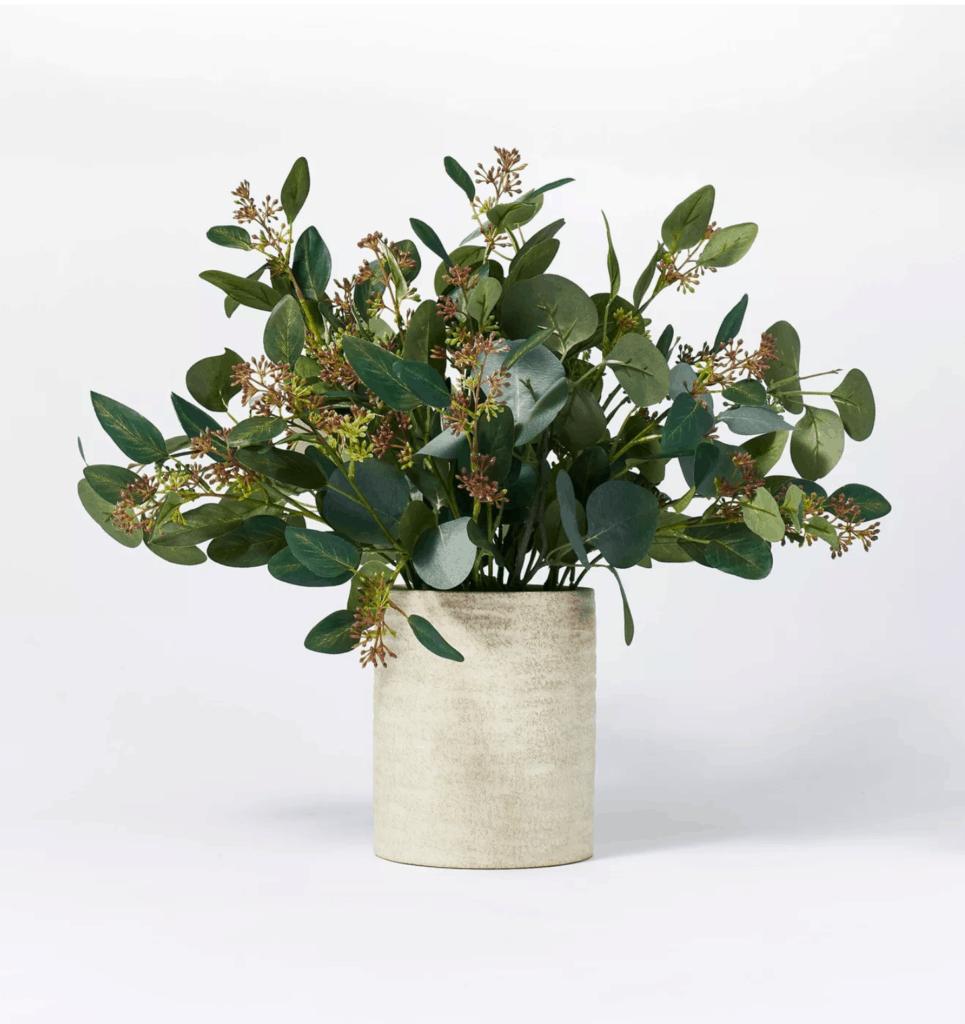 seeded eucalyptus in ceramic vase