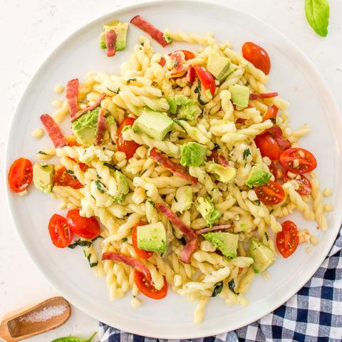 Easy Summer Avocado, Bacon, Corn and Tomato Pasta Salad
