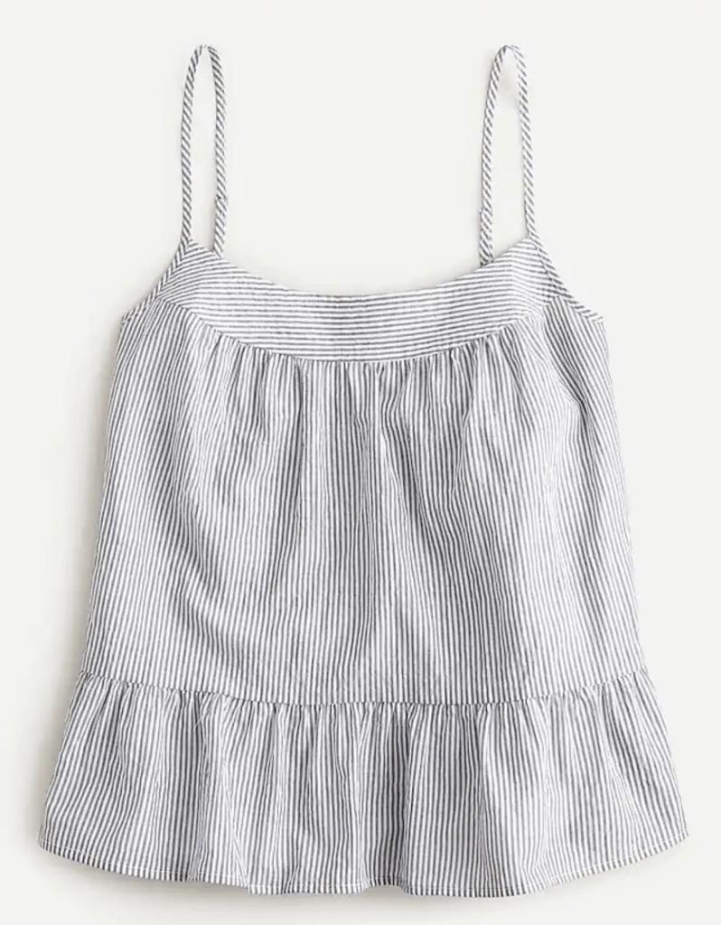 crinkle cotton tank top in stripe