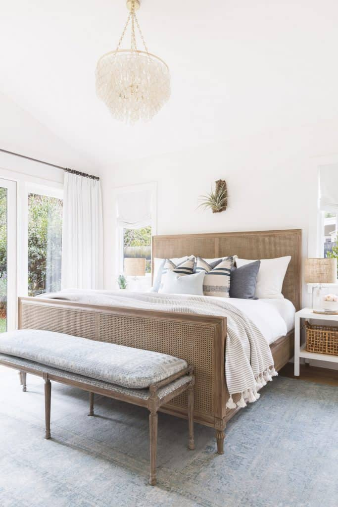 Cane bed headboard and footboard