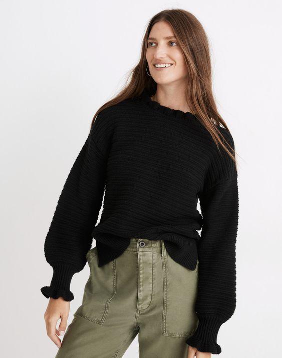 Ruffle-Neck Pullover Sweater in Cotton-Merino Yarn