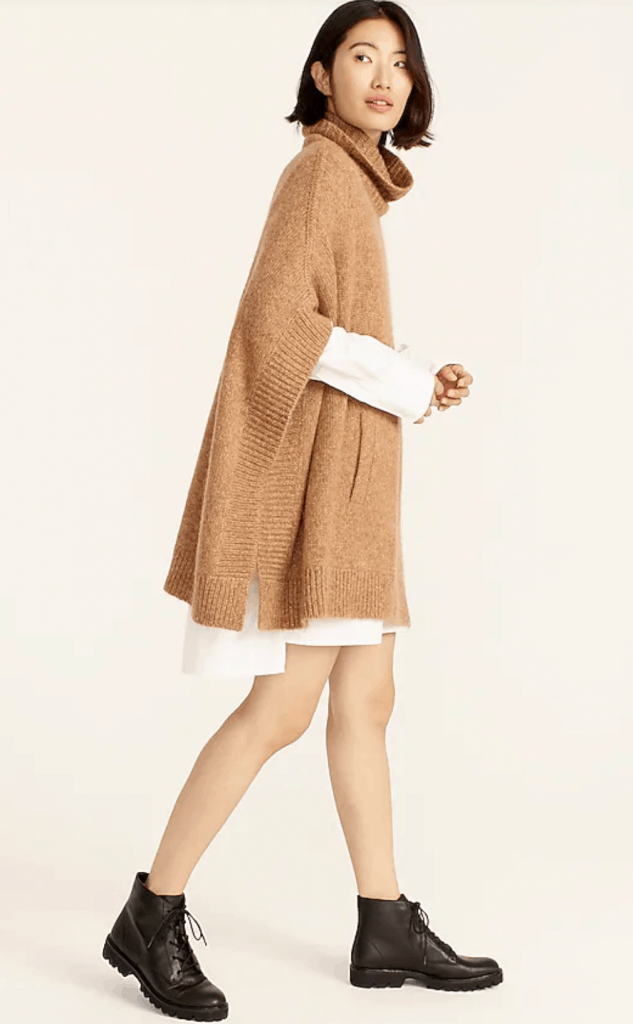 relaxed turtleneck poncho