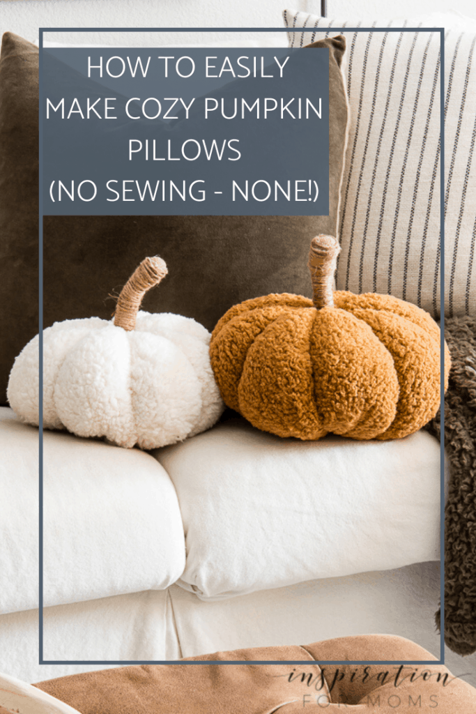 Learn how to create these adorable cozy pumpkin pillows with absolutely no sewing. These pumpkin pillows are the perfect fall accessory! #pumpkinpillows